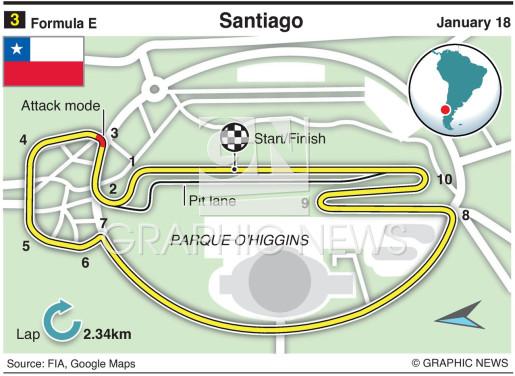 Santiago E-Prix circuit infographic