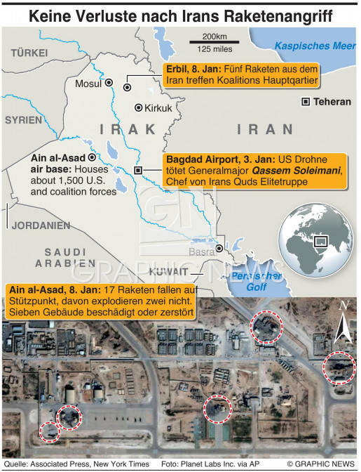 Schäden nach Angriff aus dem Iran infographic