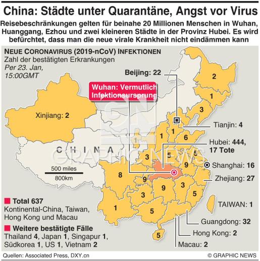 städte china karte GESUNDHEIT: Chinas Städte unter Quarantäne wege Virus infographic