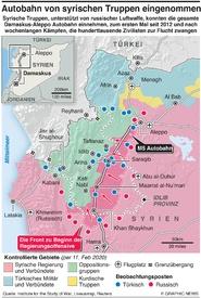 SYRIEN: Regierungstruppen besetzen wichtige Autobahn infographic