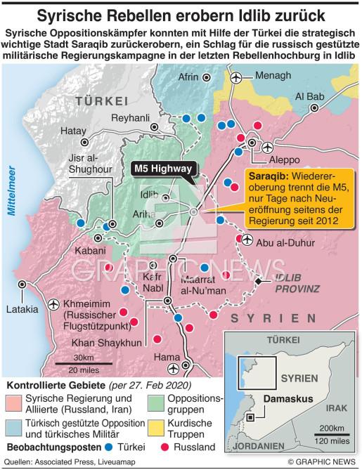 Oppositionskämpfer erobern neurlich Stadt in Idlib infographic
