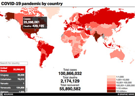 HEALTH: Coronavirus pandemic interactive (6) infographic