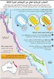بيئة: الشعاب المرجانية تعاني من الابيضاض للمرة الثالثة infographic