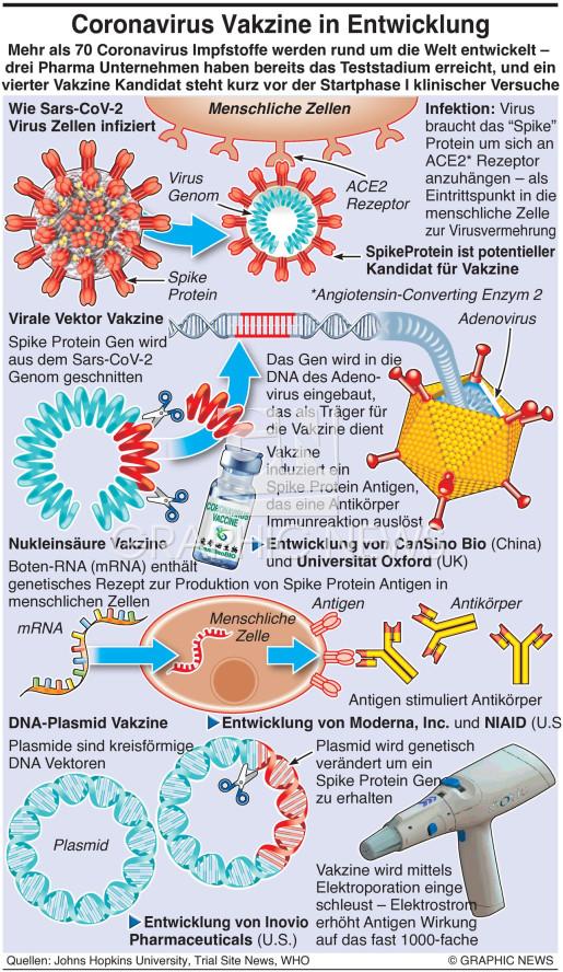 Coronavirus Impfstoffe in Entwicklung infographic