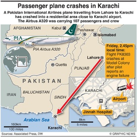DISASTER: PIA flight crash Karachi infographic