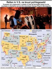 Protesten V.S.: Rellen in heel V.S. na bruut politiegeweld infographic