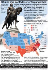 POLITIK: Statuen von Konföderierten in US umgeworfen infographic