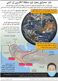 بيئة: غبار صحراوي يحول لون منطقة الكاريبي إلى البني infographic