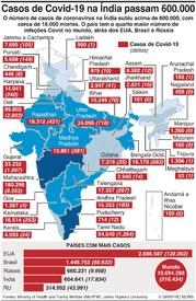 SAÚDE: Casos de Covid-19 na Índia infographic