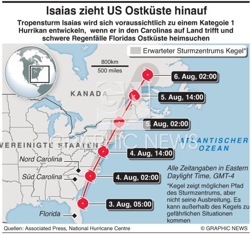 Tropensturm Isaias infographic