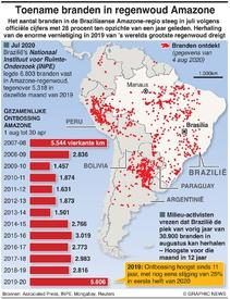 MILIEU: Toename branden in regenwoud Amazone infographic