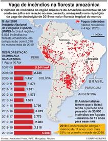 AMBIENTE: Vaga de incêndios na floresta amazónica infographic