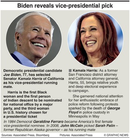 U.S. ELECTION: Biden picks running mate infographic
