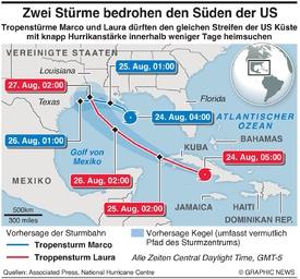WETTER: Zwie Stprme ziehen Richtung US Golfküste infographic