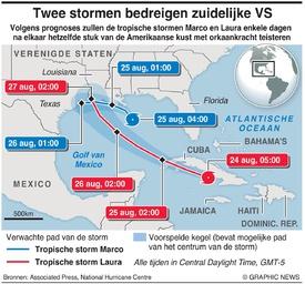 WEER: Twee stormen op weg naar zuidelijke VS infographic