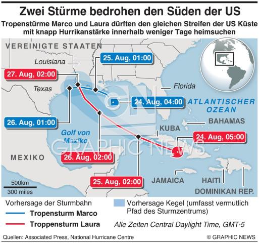 Zwie Stprme ziehen Richtung US Golfküste infographic