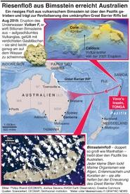 UMWELT: Riesiges Bimssteinfloß erreicht Australien infographic