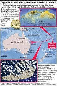 MILIEU: Gigantisch vlot van puimsteen bereikt Australië infographic