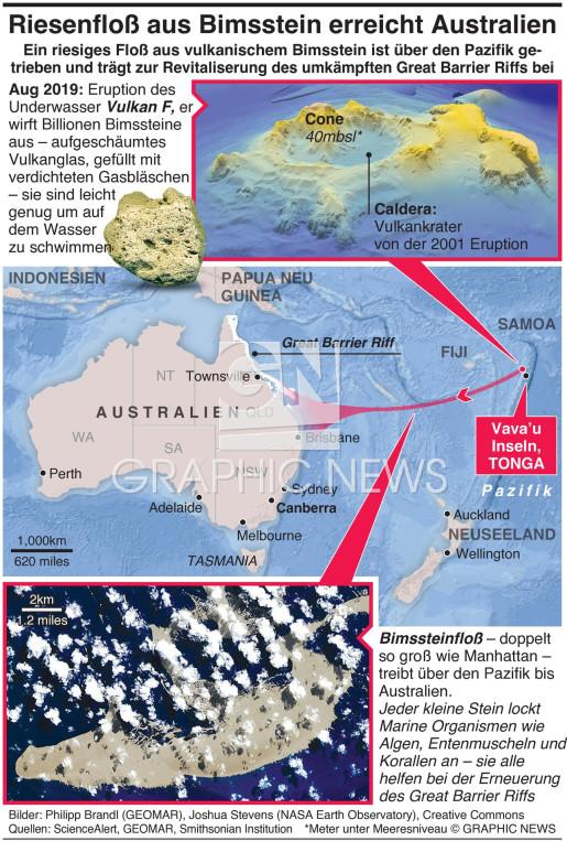Riesiges Bimssteinfloß erreicht Australien infographic