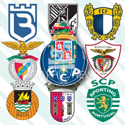 Portuguese Primeira Liga crests 2020-21 infographic