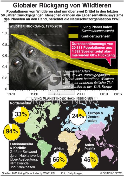 Wildtierpopulationen sind um zwei Drittel gefallen infographic