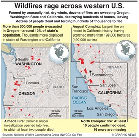 DISASTERS: Wildfires rage across western U.S. infographic