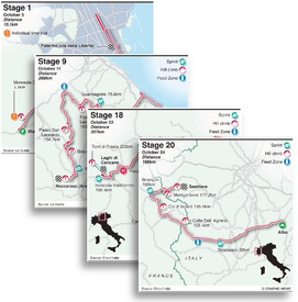 CYCLING: Giro d'Italia 2020 stage maps infographic