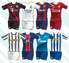 SOCCER: UEFA Champions League kits 2020-21 infographic