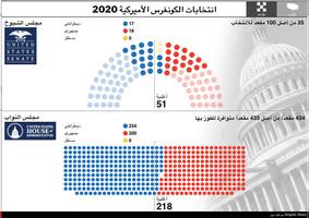 الانتخابات الأميركية: نتائج انتخابات الكونغرس الأميركية ٢٠٢٠ - رسم تفاعلي infographic