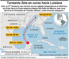 CLIMA: La tormenta Zeta va hacia la costa estadounidense del Golfo  infographic