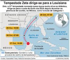 CLIMA: Tempestade Zeta dirige-se para a Louisiana infographic