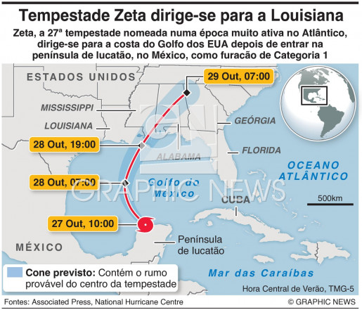 Tempestade Zeta dirige-se para a Louisiana infographic
