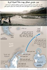 بيئة: جبل جليدي عملاق يهدد ملاذاً للحياة البرية infographic