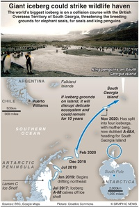 ENVIRONMENT: Giant iceberg could strike wildlife haven infographic