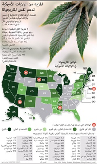 الانتخابات الأميركية ٢٠٢٠: المزيد من الولايات الأميركية تدعم تقنين الماريجوانا infographic