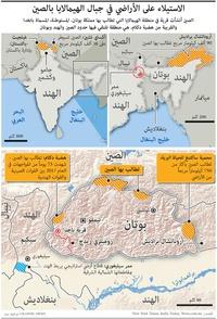 الهند: الاستيلاء على الأراضي في جبال الهيمالايا بالصين infographic