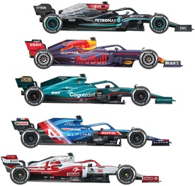 F1: Team car liveries 2021 (3) infographic