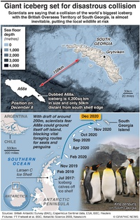 ENVIRONMENT: Giant iceberg set for devastating collision infographic