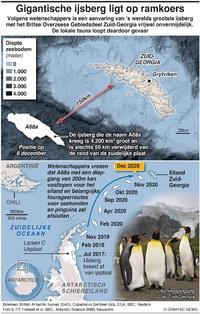 MILIEU: Gigantische ijsberg koerst af op desastreuze botsing infographic