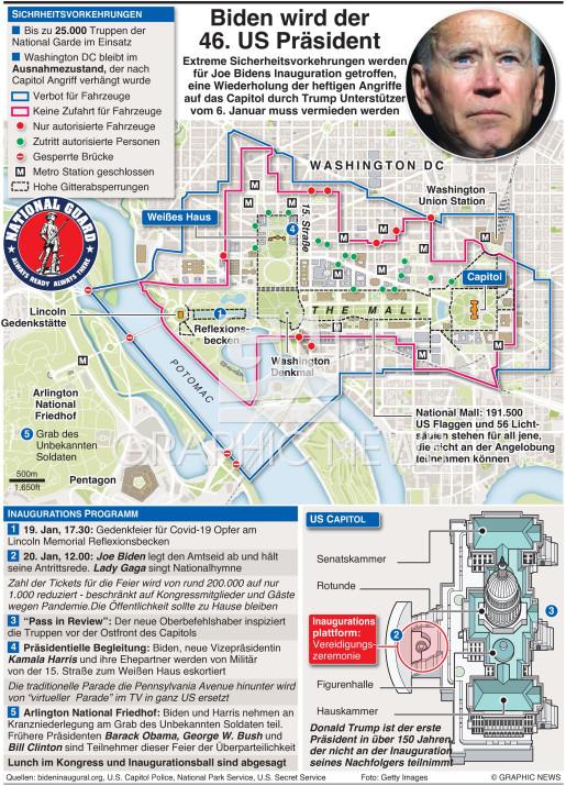 Biden Inauguration Sicherheitsvorkehrungen (3) (UPDATE DUE JAN 18) infographic