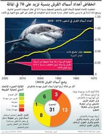 بيئة: انخفاض أعداد أسماك القرش بنسبة تزيد على 70 في المائة infographic