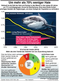 UMWELT:Rückgang bei Haien um über 70% (EMBARGOED UNTIL WED 16:00GMT) infographic