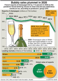 BUSINESS: Champagne sales hit by pandemic infographic