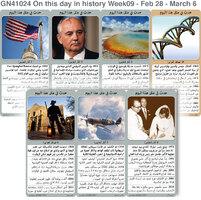 تاريخ: حدث في مثل هذا اليوم - 28 شباط - 6 آذار - الأسبوع 9 infographic