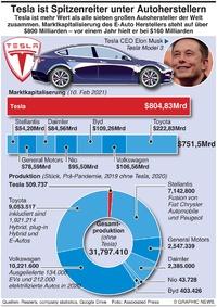 WIRTSCHAFT: Tesla's Vormachtstellung infographic