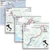 Giro d'Italia 2021 etappekaarten infographic