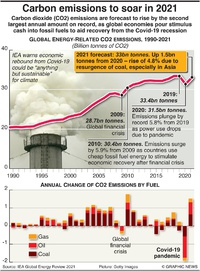 CLIMATE: Carbon emissions to soar in 2021 infographic