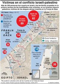 ORIENTE MEDIO: Víctimas en el conflicto israelí-palestino infographic