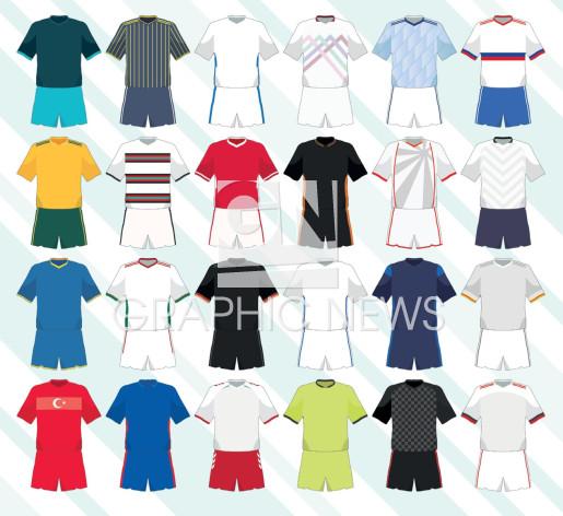 UEFA Euro 2020 team away kits icons infographic