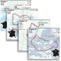 Tour de France 2021 Etappenkarten infographic